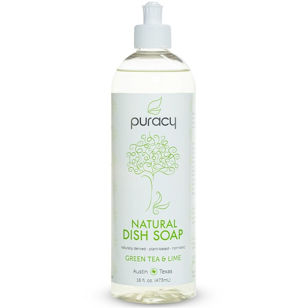 Puracy, Natural Dish Soap, Green Tea & Lime, 16 fl oz (473 ml) (Discontinued Item)