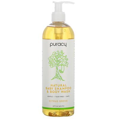 Купить Puracy Натуральный детский шампунь и гель для душа, цитрусовая роща, 16 жидких унций (473 мл)