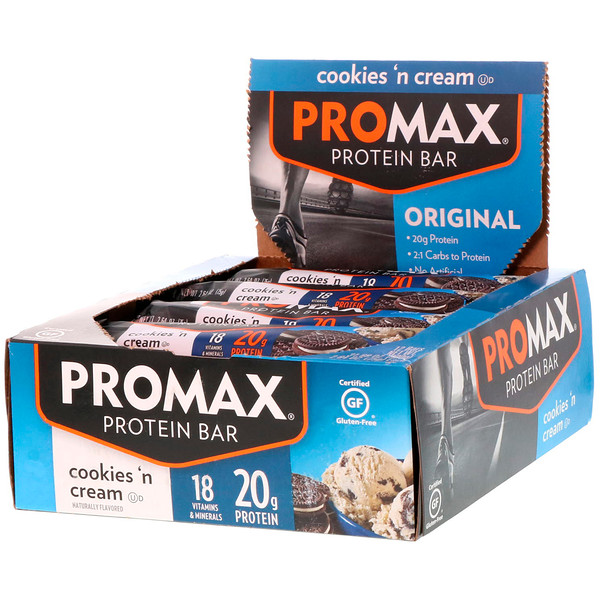 Promax Nutrition, Energy Bars, Cookies 'N Cream, 12 Bars, 2.64 oz (75 g) Each