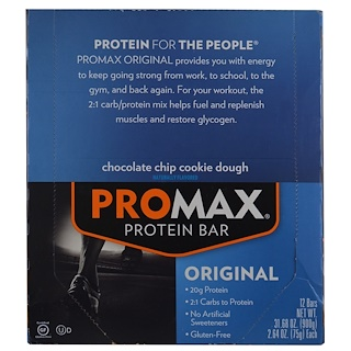 Promax Nutrition, Protein Bar, Original, Chocolate Chip Cookie Dough, 12 Bars, 2.64 oz (75 g) Each