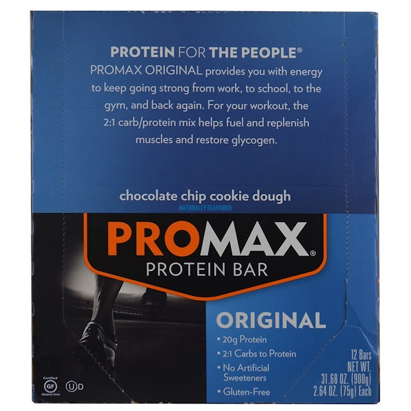 Promax Nutrition, Protein Bar, Original, Chocolate Chip Cookie Dough, 12 Bars, 2.64 oz (75 g) Each (Discontinued Item)