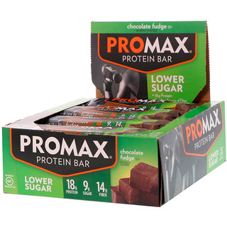 Promax Nutrition, Lower Sugar Protein Bar, Chocolate Fudge, 12 Bars, 2.36 oz (67 g) Each