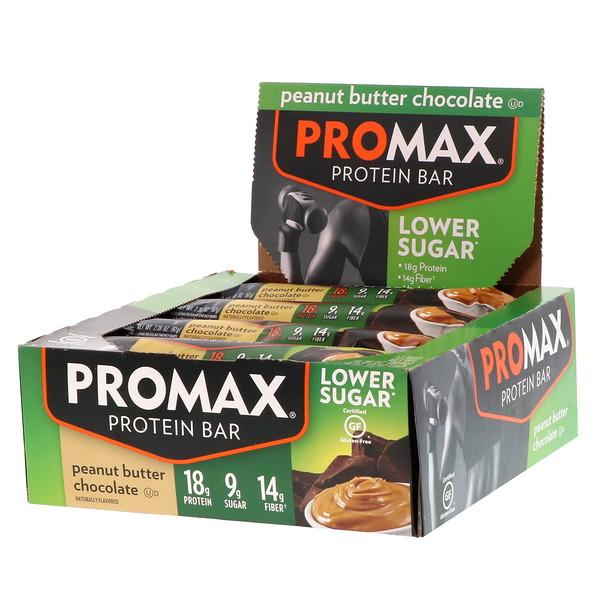 Promax Nutrition, Protein Bar, Lower Sugar, Peanut Butter Chocolate, 12 Bars, 2.36 oz (67 g) Each