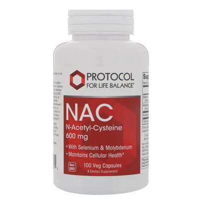 Купить Protocol for Life Balance NAC N-ацетил-цистеин, 600 мг, 100 вегетарианских капсул