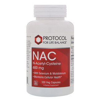 Protocol for Life Balance, NAC N-Acetyl-Cysteine, 600 mg, 100 Veg Capsules