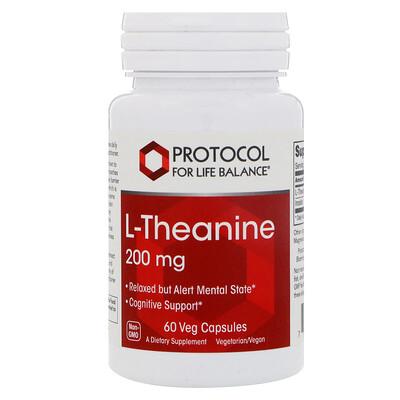 Купить Protocol for Life Balance L-теанин, 200 мг, 60 вегетарианских капсул