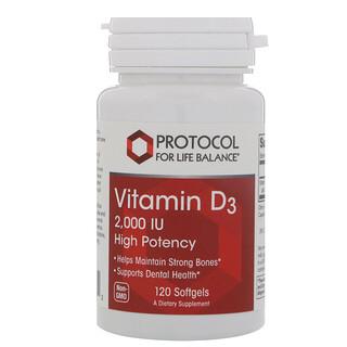 Protocol for Life Balance, Vitamin D3, High Potency, 2,000 IU, 120 Softgels
