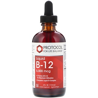 Protocol for Life Balance, Liquid B-12, 5,000 mcg, 4 fl oz (118 ml)