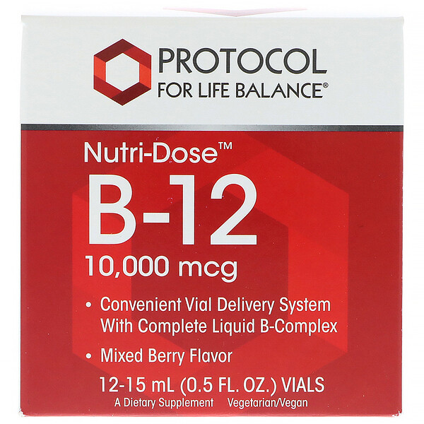 Protocol for Life Balance, Nutri-Dose B-12, Mixed Berry Flavor, 10,000 mcg, 12 Vials, 0.5 fl oz (15 ml) Each (Discontinued Item)