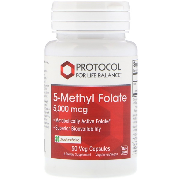 Protocol for Life Balance, 5-Methyl Folate, 5,000 mcg, 50 Veg Capsules