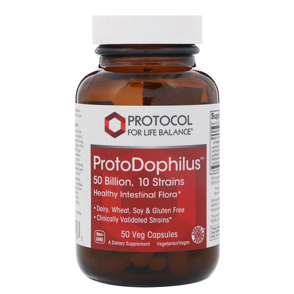 Protocol for Life Balance, ProtoDophilus, 50 Billion, 10 Strains, 50 Veg Capsules