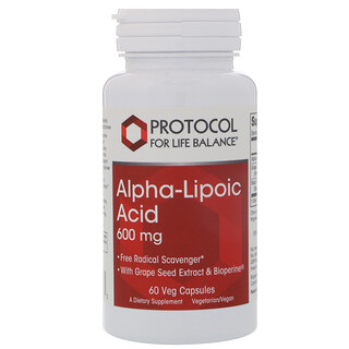 Protocol for Life Balance, Ácido alfalipoico, 600 mg, 60 cápsulas vegetales