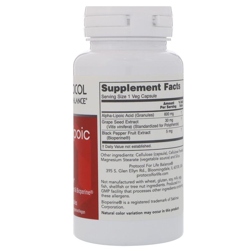 Protocol for Life Balance, Alpha-Lipoic Acid, 600 mg, 60 Veg Capsules - photo 1