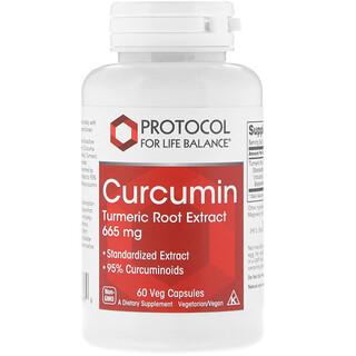 Protocol for Life Balance, Curcumin, Turmeric Root Extract, 665 mg, 60 Veg Capsules