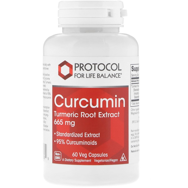 Protocol for Life Balance, Curcumin, Turmeric Root Extract, 665 mg, 60 Veg Capsules (Discontinued Item)