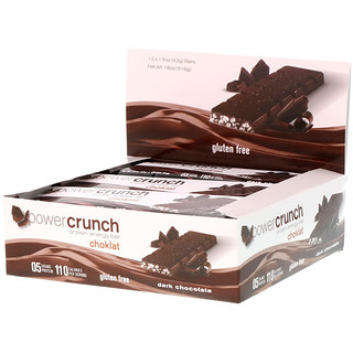 BNRG, Power Crunch, Protein Energy Bar, Choklat, Dark Chocolate, 12 Bars, 1.54 oz (43 g) Each