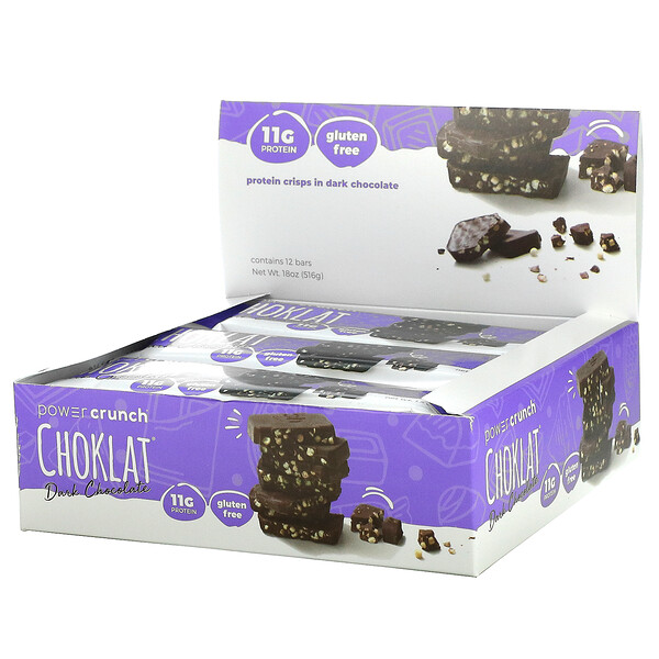 BNRG, Power Crunch Protein Crisp Bar, Choklat, Dark Chocolate, 12 Bars, 1.5 oz (43 g) Each