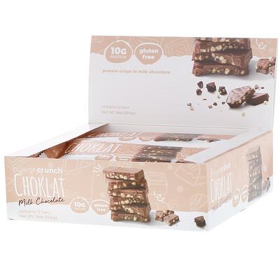 Энергетический белковый батончик Power Crunch Choklat, молочный шоколад, 12 батончиков, вес каждого 42 г (1,5 унции)