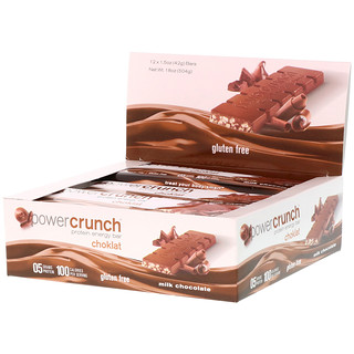 BNRG, Power Crunch, Protein Energy Bar, Choklat, Milk Chocolate, 12 Bars, 1.5 oz (42 g) Each