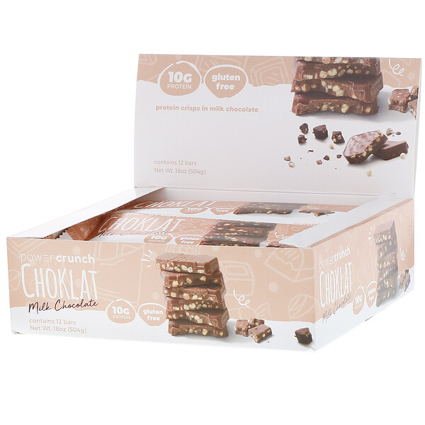 Power Crunch Protein Energy Bar, Choklat, Milk Chocolate, 12 Bars, 1.5 oz (42 g) Each