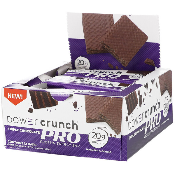 Power Crunch Protein Energy Bar, PRO, Triple Chocolate, 12 Bars, 2.0 oz (58 g) Each