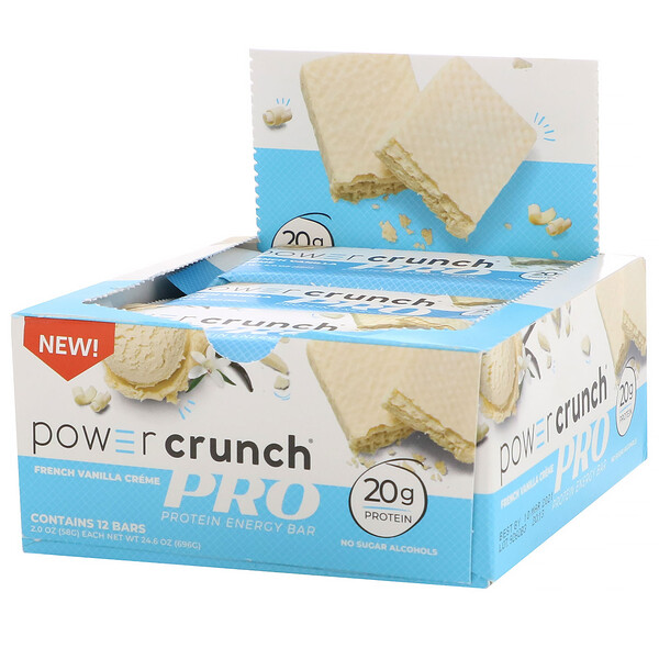 Power Crunch Protein Energy Bar, PRO, French Vanilla Créme, 12 Bars, 2.0 oz (58 g) Each