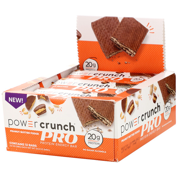 Power Crunch Protein Energy Bar, PRO, Peanut Butter Fudge, 12 Bars, 2 oz (58 g) Each
