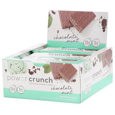 Купить Power Crunch, протеиновый энергетический батончик с оригинальным вкусом шоколада и мяты, 12 шт. по 40 г