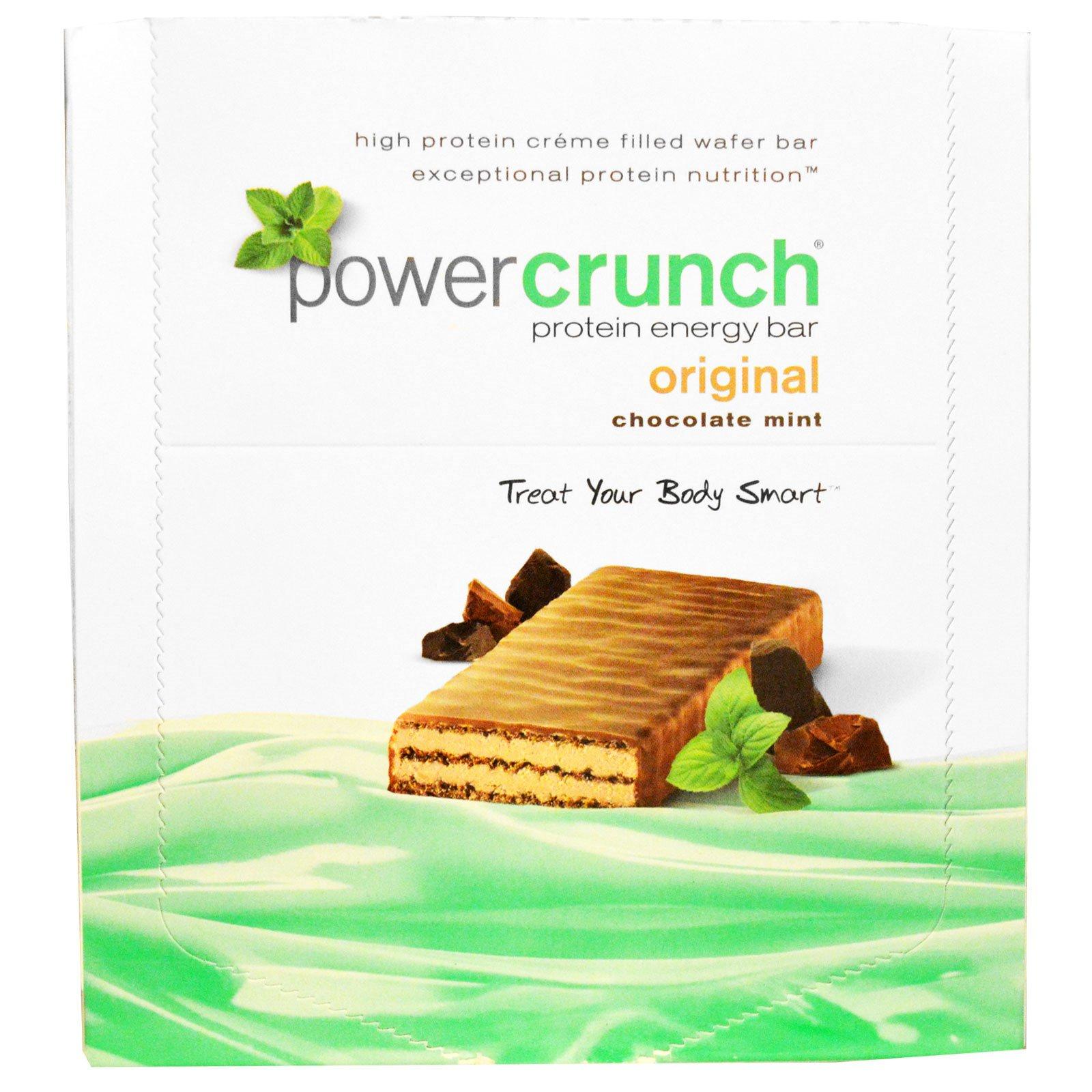 BNRG, Power Crunch, протеиновый энергетический батончик с оригинальным вкусом шоколада и мяты, 12 шт. по 40 г