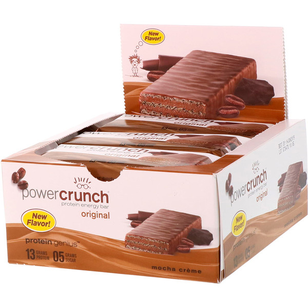 BNRG, Power Crunch Protein Energy Bar, Original, Mocha Creme, 12 Bars, 1.4 oz (40 g) Each (Discontinued Item)