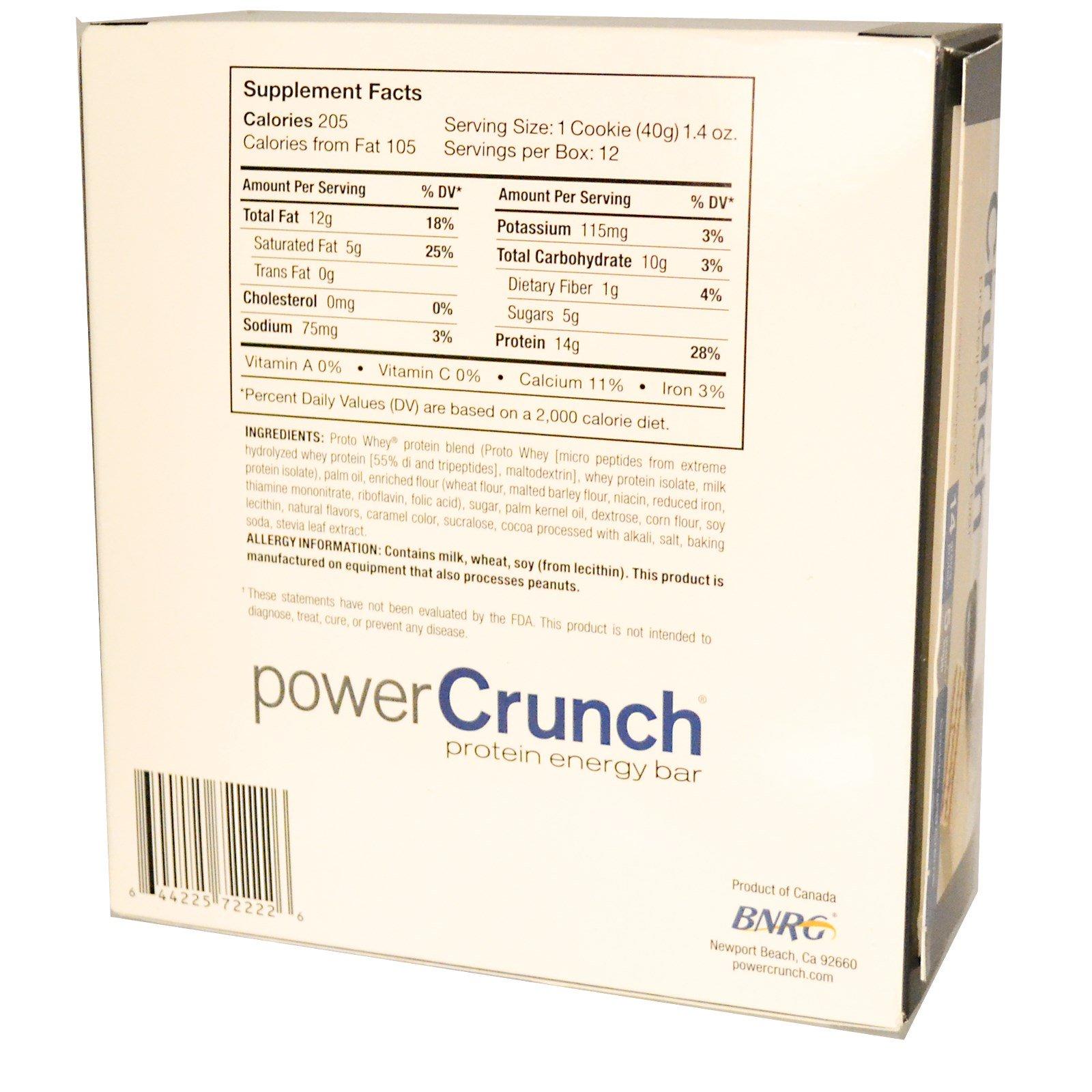 BNRG, Power Crunch, протеиновый энергетический батончик со вкусом сливочного печенья, 12 шт. по 40 г