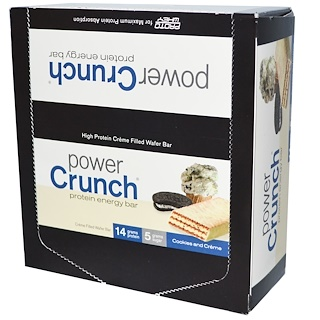 BNRG, Power Crunch Protein Energy Bar, Cookies and Crème, 12 Bars, 1.4 oz (40 g) Each