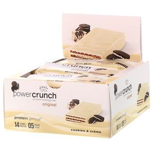 BNRG, Энергетический батончик Power Crunch Protein, оригинальный, печенье с кремом, 12 баточников, 1,4 унц. (40 г) в каждом