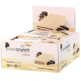 BNRG, Power Crunch Protein Energy Bar, Original, Cookies and Crème, 12 Bars, 1.4 oz (40 g) Each