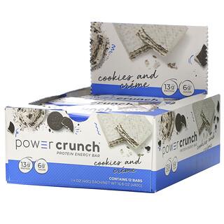 BNRG, Power Crunch Protein Energy Bar, Cookies and Crème, 12 Bars, 1.4 oz (40 g) Each