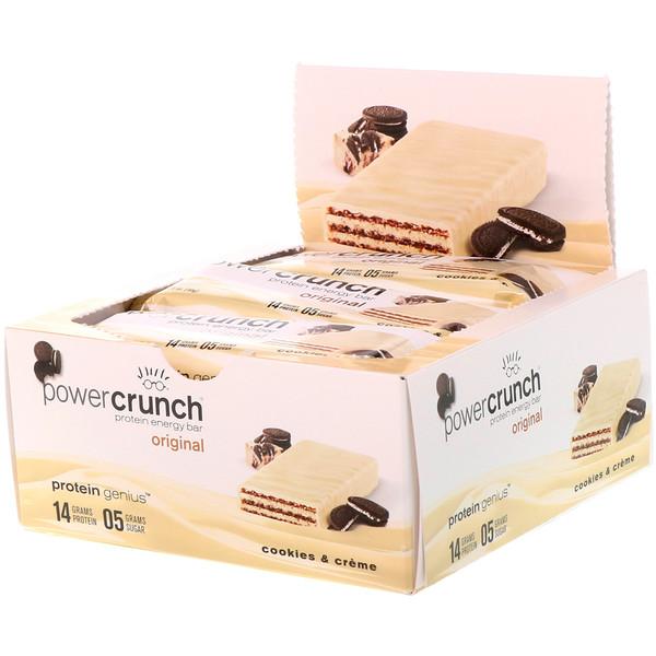BNRG, Power Crunch Protein Energy Bar, Original, Cookies and Crème, 12 Bars, 1.4 oz (40 g) Each