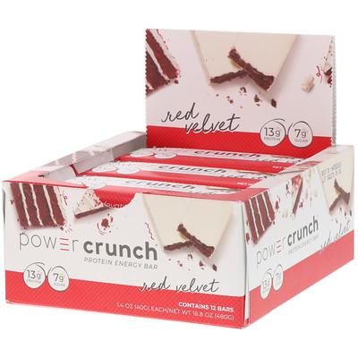 Купить BNRG Power Crunch, протеиновый энергетический батончик, со вкусом торта «Красный бархат», 12батончиков, 40г (1, 4унции) каждый