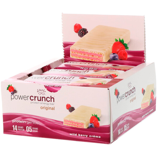 Power Crunch Protein Energy Bar, Wild Berry Creme, 12 Bars, 1.4 oz (40 g) Each