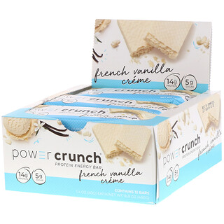 BNRG, Power Crunch Protein Energy Bar, French Vanilla Creme, 12 Bars, 1.4 oz (40 g) Each