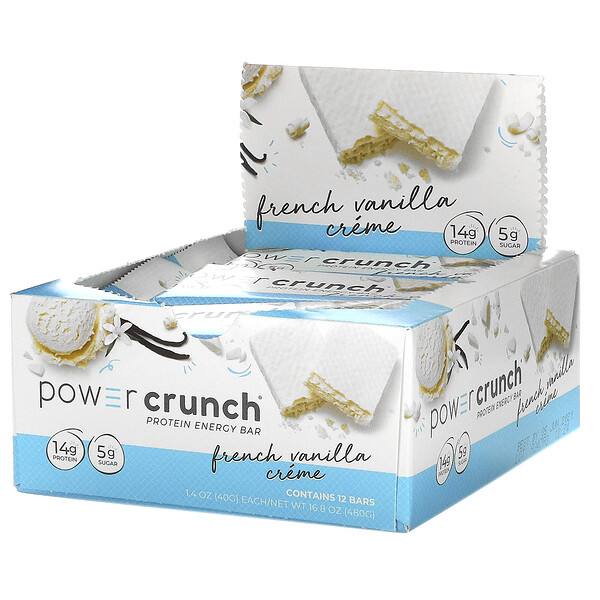 Power Crunch Protein Energy Bar, French Vanilla Creme, 12 Bars, 1.4 oz (40 g) Each