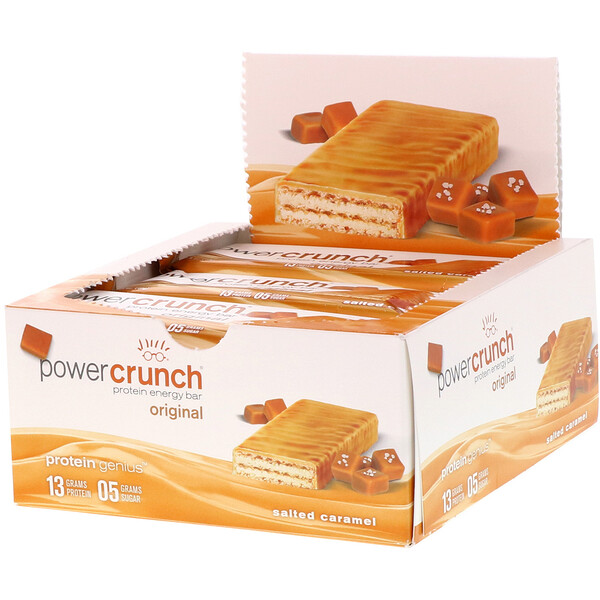Power Crunch Protein Energy Bar Original, Salted Caramel, 12 Bars, 1.4 oz (40 g) Each