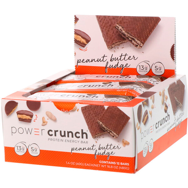 Barra Energética Proteica Power Crunch, Fudge de Manteiga de Amendoim, 12 Barras, 40 g (1,4 oz) Cada