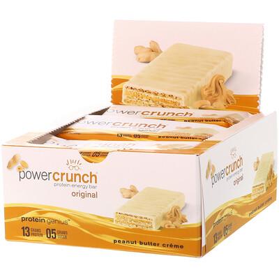 Фото - Энергетический белковый батончик Power Crunch Original, крем с арахисовым маслом, 12 батончиков, вес каждого 40 г (1,4 унции) premium nutrition bars хрустящие ириски с арахисовым маслом 15 батончиков по 2 унции 57 г каждый