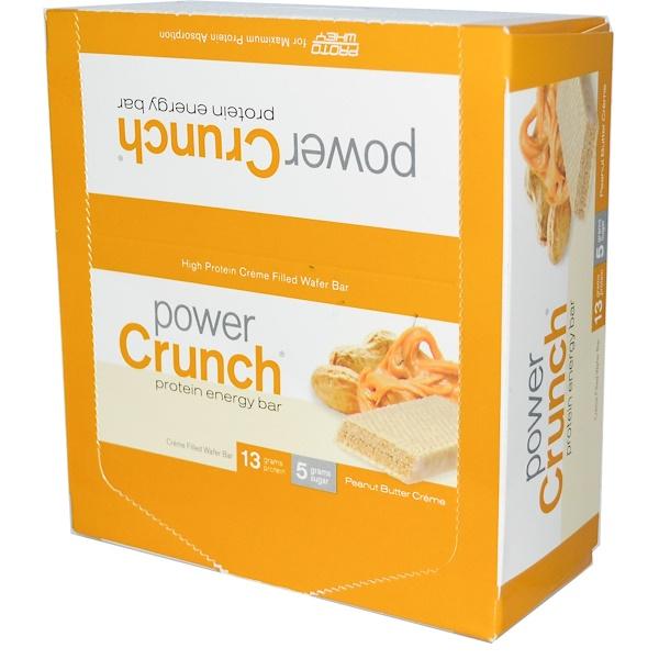 BNRG, Power Crunch 蛋白能量棒,花生醬奶油口味,12條,每條1、4盎司(40克)