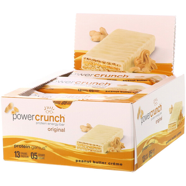 Power Crunch Protein Energy Bar, Original, Peanut Butter Creme, 12 Bars, 1.4 oz (40 g) Each