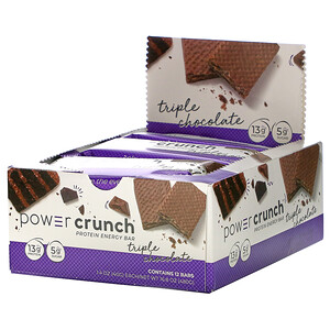 БНРГ, Power Crunch Protein Energy Bar, Triple Chocolate, 12 Bars, 1.4 oz (40 g) Each отзывы покупателей