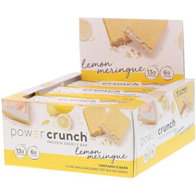 Купить BNRG Power Crunch, протеиновый энергетический батончик, лимонная меренга, 12батончиков, 40г (1, 4унции) каждый