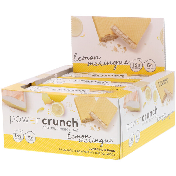 Power Crunch Protein Energy Bar,  Lemon Meringue, 12 Bars, 1.4 oz (40 g) Each