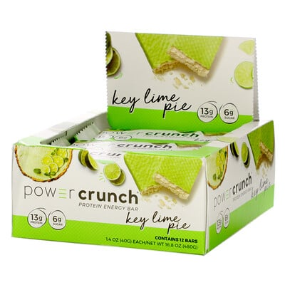 BNRG Power Crunch Protein Energy Bar, Key Lime Pie, 12 Bars, 1.4 oz (40 g) Each