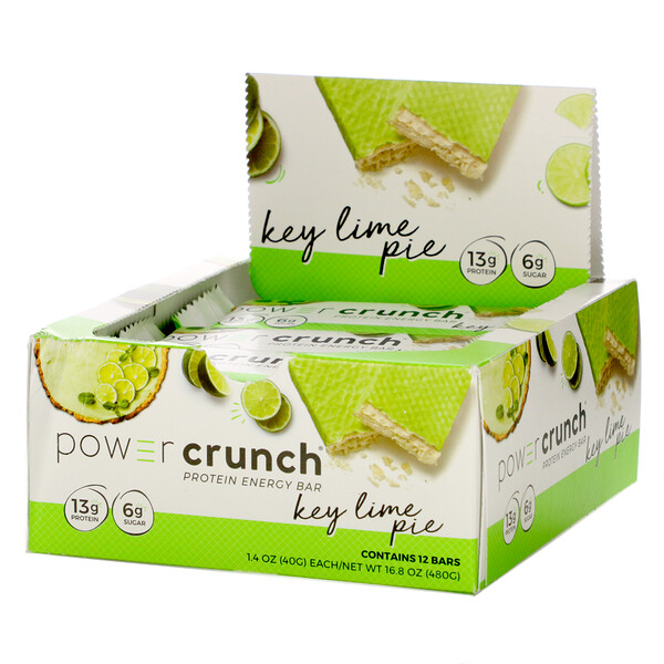 Power Crunch Protein Energy Bar, Key Lime Pie, 12 Bars, 1.4 oz (40 g) Each